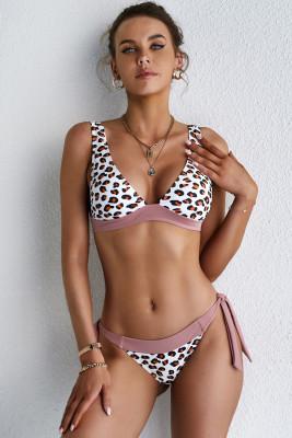 Bikini imprimé léopard à col en V profond avec lien