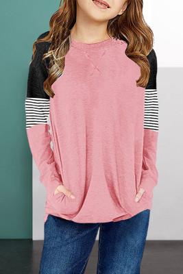 بلوزة بناتي بأكمام طويلة مخططة باللون الوردي مع جيب