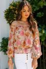 Блуза с открытыми плечами и цветочным принтом