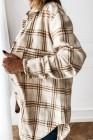 Пальто-рубашка на пуговицах в клетку цвета хаки с разрезами