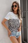 Camiseta con bolsillo de encaje empalmado de rayas de leopardo