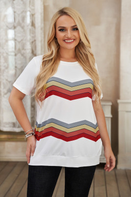 Top blanco de manga corta con estampado de rayas de colores y talla grande
