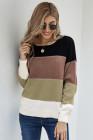 Черный пуловер с цветными блоками Зимний свитер