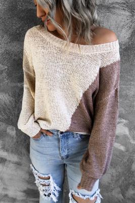 Асимметричный вязаный свитер с цветными блоками