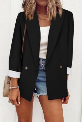 Черный пиджак с отворотом и карманом на пуговицах