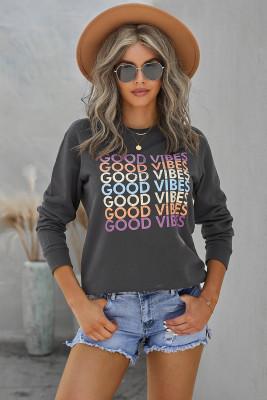 Sudadera con capucha y cremallera Gráfico GOOD VIBES gris