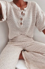 Beige Baumwollmischung Relaxed Top und High Rise Hose Lounge Set High