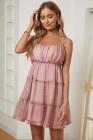 الوردي ألف خط الطبقات منزعج فستان زهري