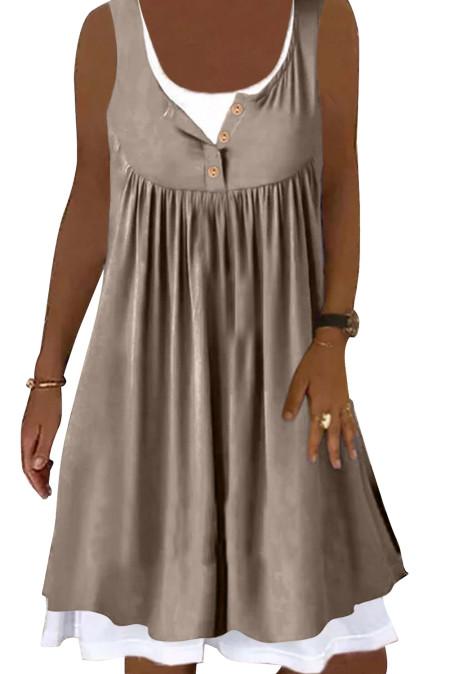 كاكي فستان قصير بدون أكمام مكشكش من قطعتين