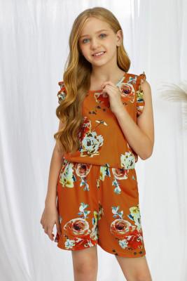 رومبير بناتي بدون أكمام مكشكش بطبعة زهور برتقالية