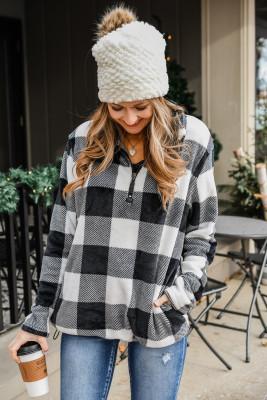 Schwarzes Sweatshirt mit Karomuster und Umlegekragen mit 1/4-Reißverschluss