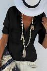 Черная рубашка с отложным воротником и карманами на пуговицах