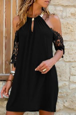 Mini vestido cuello halter ojo de cerradura hombro frío manga de encaje recto negro