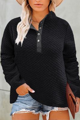 Черный стеганый свитшот Henley на пуговицах большого размера