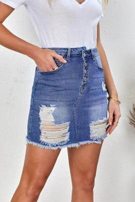 كشط تنورة جينز قصيرة