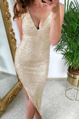 Золотое облегающее платье с V-образным вырезом и пайетками