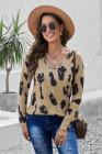 Блузка с леопардовым принтом с длинными рукавами