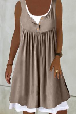 Мини-платье из двух частей без рукавов цвета хаки с рюшами из искусственной кожи