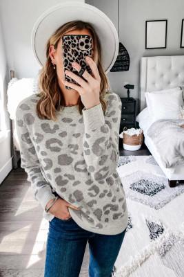 Jersey de punto con estampado de leopardo gris