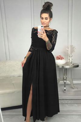 أسود قبالة الكتف الدانتيل صد ارتفاع الخصر تنورة ماكسي فستان سهرة