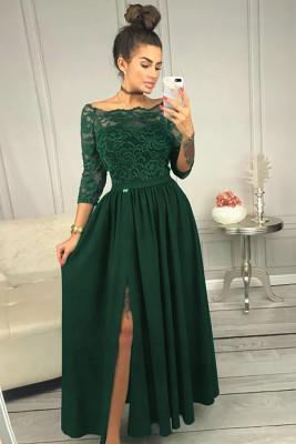 الأخضر قبالة الكتف الدانتيل صد عالية الخصر تنورة ماكسي فستان سهرة
