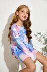 طقم كنزة صوفية بأكمام طويلة للفتيات الصغيرات باللون الأزرق السماوي وشورت برباط