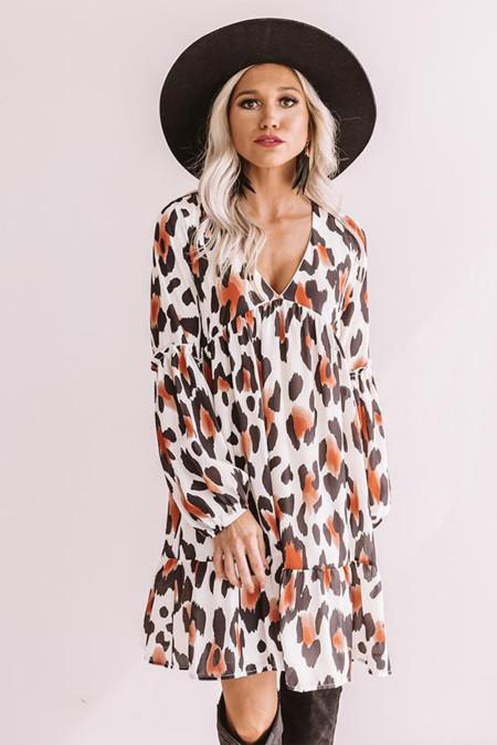 Платье бебидолл с длинными рукавами и оборками с леопардовым принтом
