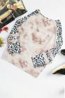 Top de talla grande con cuello cruzado y manga de leopardo teñido anudado