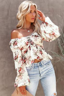Бежевая блузка с v-образным вырезом с объемными рукавами и цветочным принтом