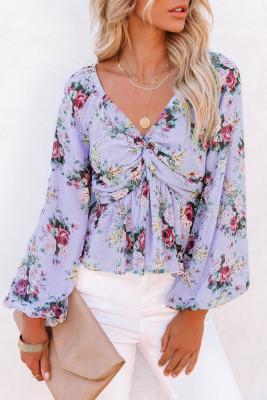 Блузка с цветочным принтом и V-образным вырезом с объемными рукавами и твистом спереди