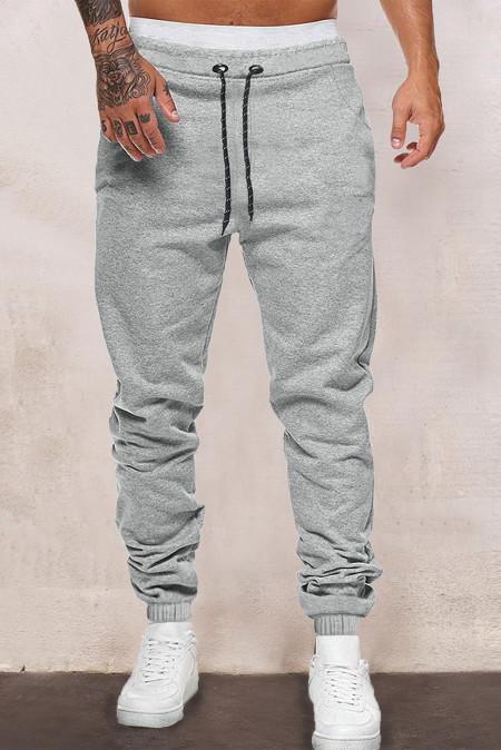 Joggers grises con cintura elástica y cordón para hombre