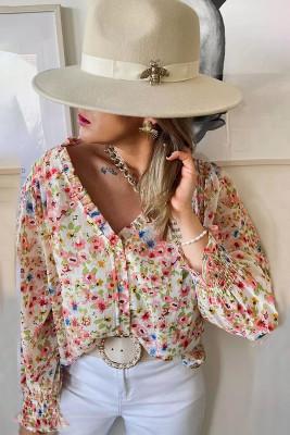 Рубашка с V-образным вырезом и оборками с цветочным принтом и длинным рукавом