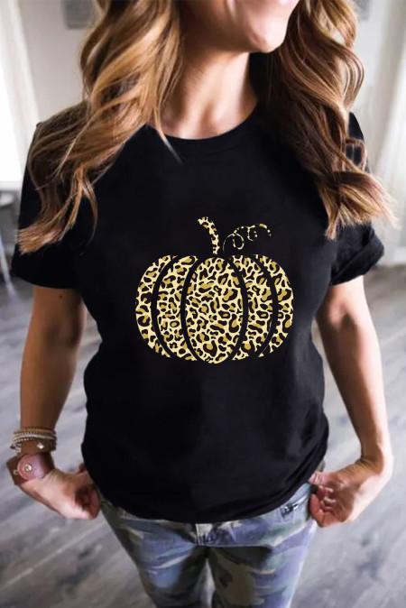 Camiseta con estampado de calabaza de Halloween de leopardo