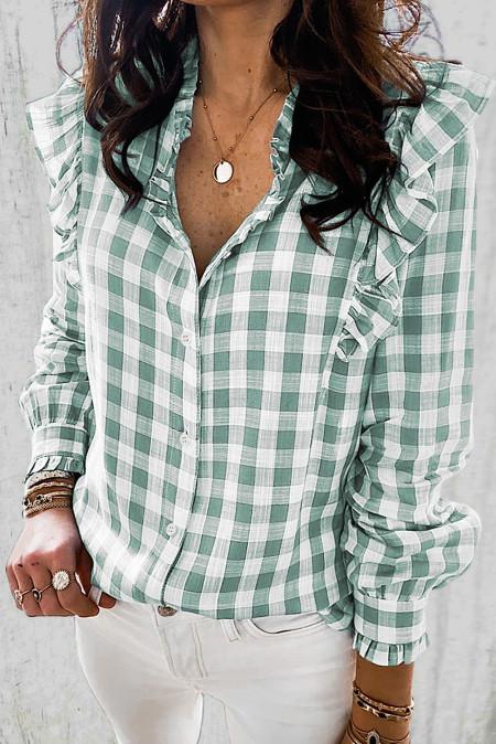 Зеленая рубашка с рюшами и пуговицами в клетку с принтом