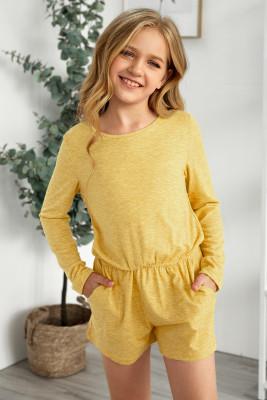لون أصفر خالص كم طويل مطاطا الخصر جيب رومبير الفتاة