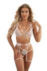 أبيض 3 قطع Strappy Bow Knot مجموعة الملابس الداخلية الدانتيل