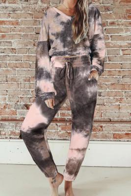 Ensemble à manches longues et pantalon de jogging noir tie-dye Crop