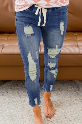 بنطال جينز ممزق برباط أزرق