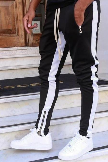 Pantalones de chándal para hombre casuales con cremallera de patchwork en color negro