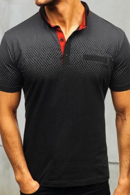 Черная мужская футболка Henley с короткими рукавами Gradient Color
