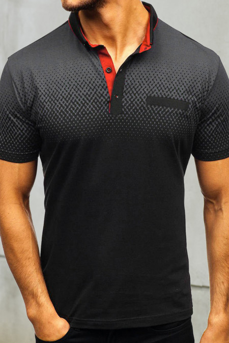 Camiseta henley de manga corta de color degradado negro para hombre