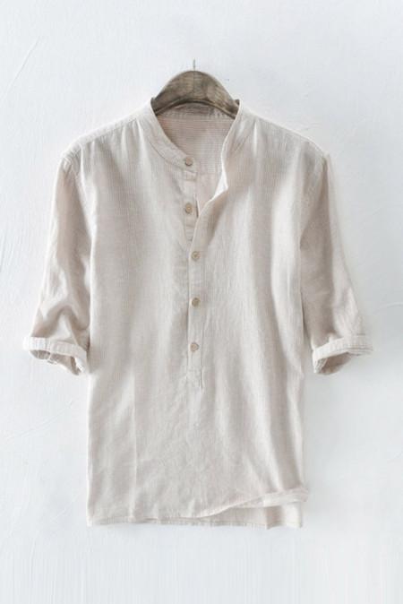 قميص بلوفر كاكي مقلمة بأكمام متوسطة للرجال
