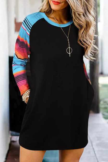 فستان راجلان قصير كم طويل مخطط