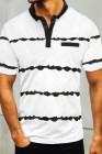 Белая мужская футболка с пуговицами в полоску