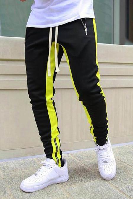Pantalones de chándal para hombre casuales con cremallera de patchwork en bloques de color amarillo