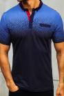 Темно-синяя мужская футболка с короткими рукавами и градиентом цвета Henley