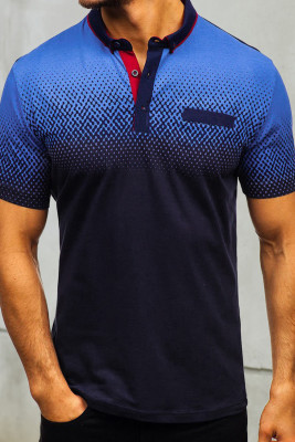 Camiseta henley de manga corta de color azul oscuro degradado para hombre