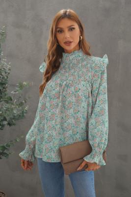 Блузка с длинным рукавом и оборками со сборками и цветочным принтом
