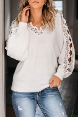 Suéter blanco con cuello en V y empalme de encaje