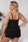 Черный комплект нижнего белья на тонких бретелях с кружевной нашивкой больших размеров